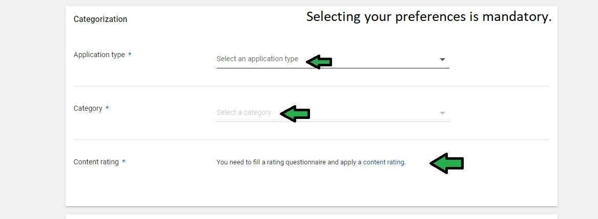 Select the type of your app, the category and fill in the content rating questionnaire.