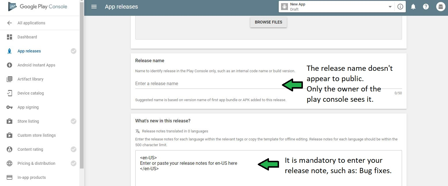 Enter a release name and note.