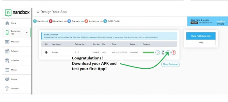 Download the APK file to your Android device to test your app.