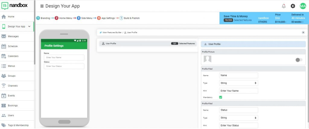 Set the attributes for users to create their own profiles.
