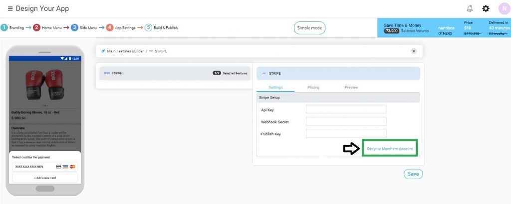 Click on Get your Merchant Account to access or create your Stripe account.