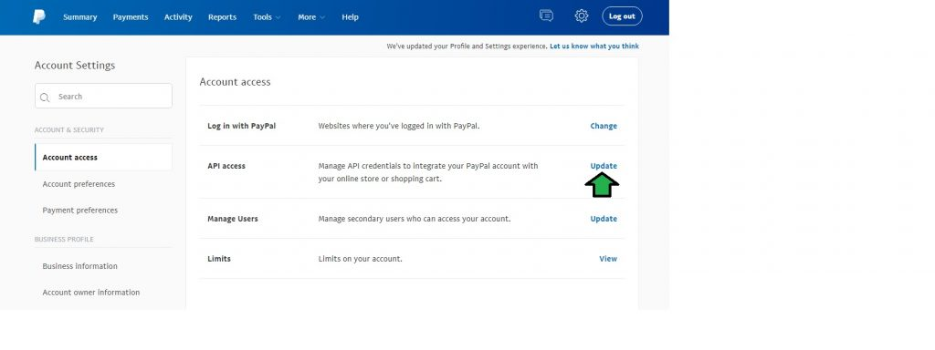 Update the API access of your PayPal account
